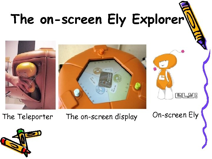 The on-screen Ely Explorer The Teleporter The on-screen display On-screen Ely