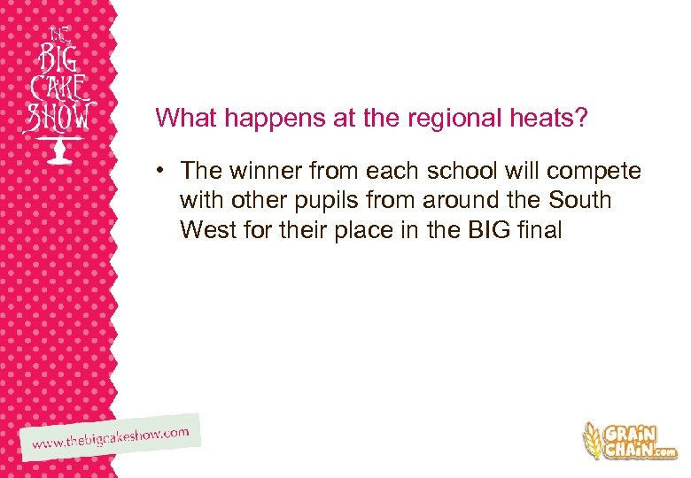 What happens at the regional heats? • The winner from each school will compete
