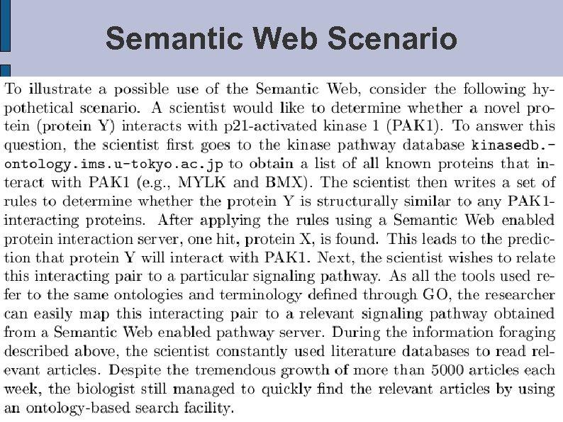 Semantic Web Scenario