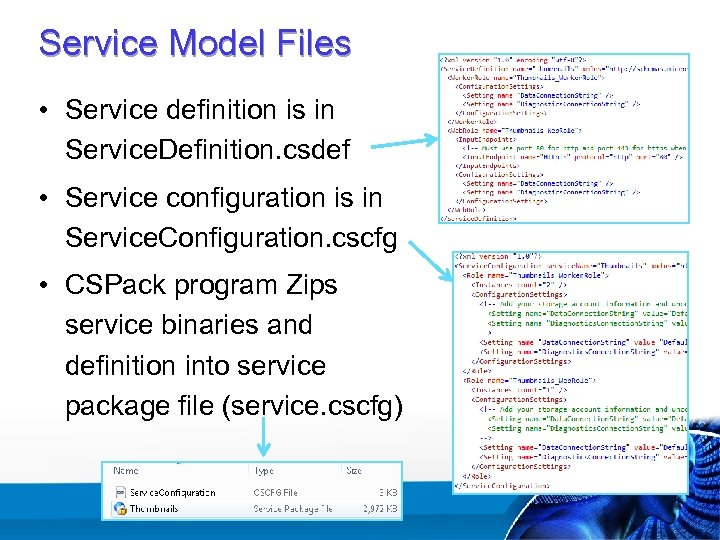Service Model Files • Service definition is in Service. Definition. csdef • Service configuration