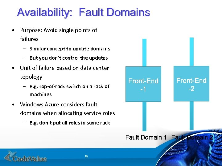 Availability: Fault Domains • Purpose: Avoid single points of failures – Similar concept to