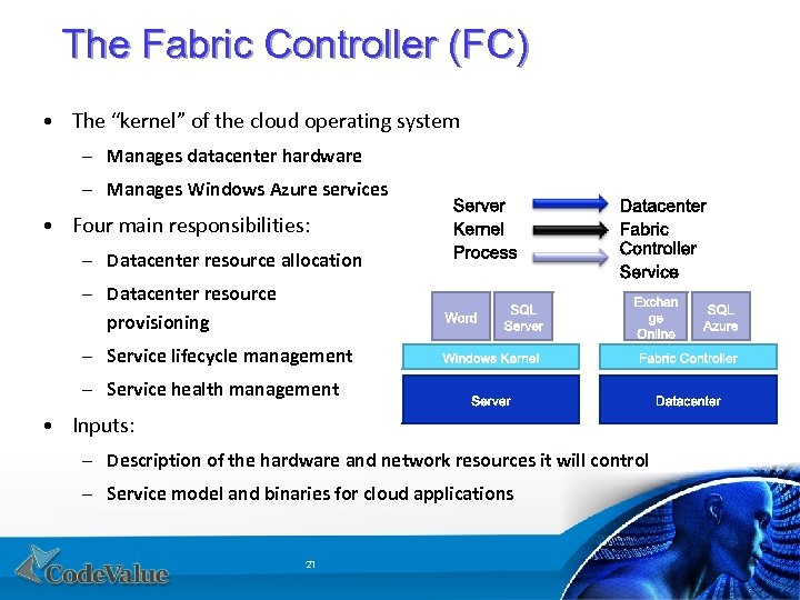 """The Fabric Controller (FC) • The """"kernel"""" of the cloud operating system – Manages"""