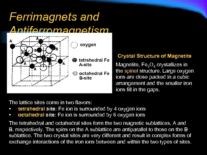 Ferrimagnets and Antiferromagnetism Crystal Structure of Magnetite, Fe 3 O 4 crystallizes in the