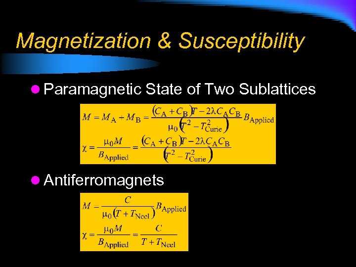 Magnetization & Susceptibility l Paramagnetic State of Two Sublattices l Antiferromagnets