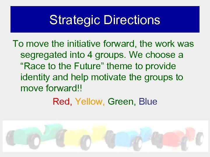 Strategic Directions To move the initiative forward, the work was segregated into 4 groups.