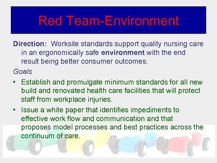 Red Team-Environment Direction: Worksite standards support quality nursing care in an ergonomically safe environment