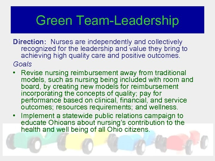 Green Team-Leadership Direction: Nurses are independently and collectively recognized for the leadership and value