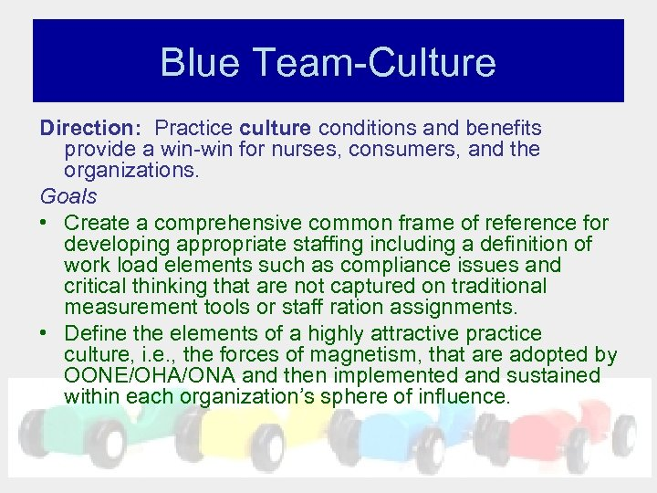 Blue Team-Culture Direction: Practice culture conditions and benefits provide a win-win for nurses, consumers,