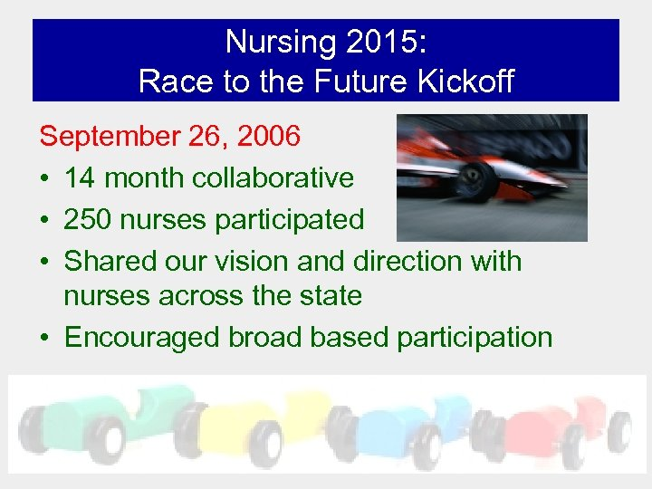 Nursing 2015: Race to the Future Kickoff September 26, 2006 • 14 month collaborative