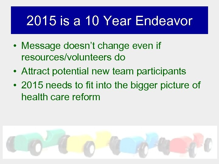 2015 is a 10 Year Endeavor • Message doesn't change even if resources/volunteers do