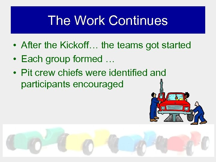 The Work Continues • After the Kickoff… the teams got started • Each group
