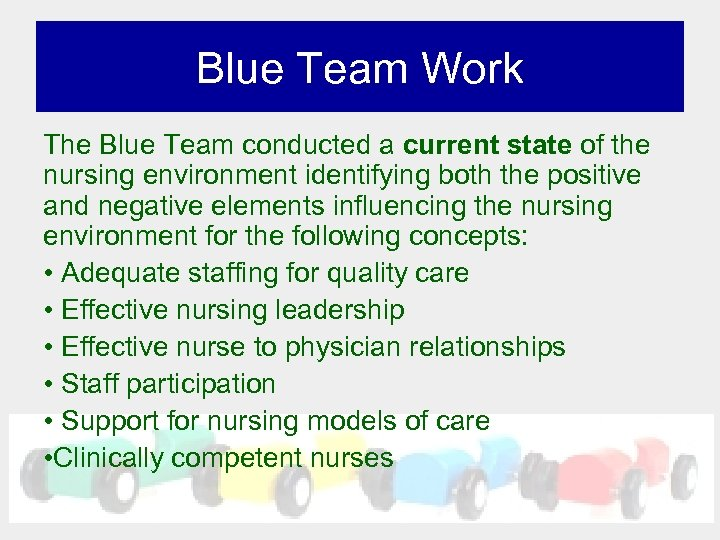 Blue Team Work The Blue Team conducted a current state of the nursing environment