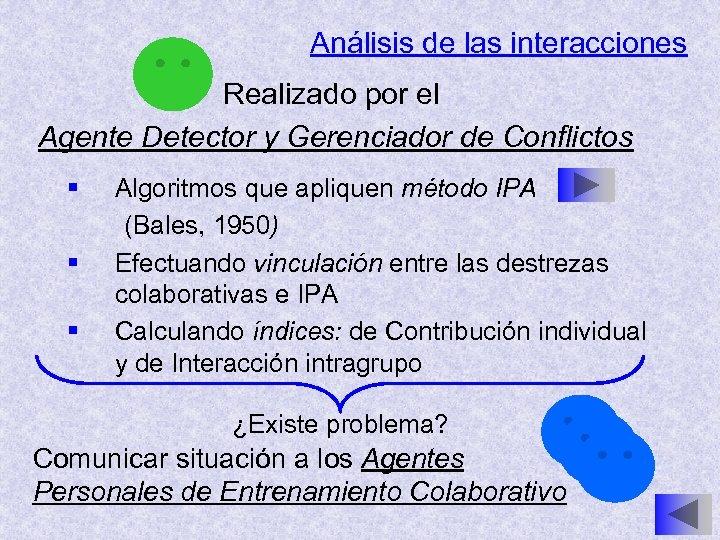 Análisis de las interacciones Realizado por el Agente Detector y Gerenciador de Conflictos §