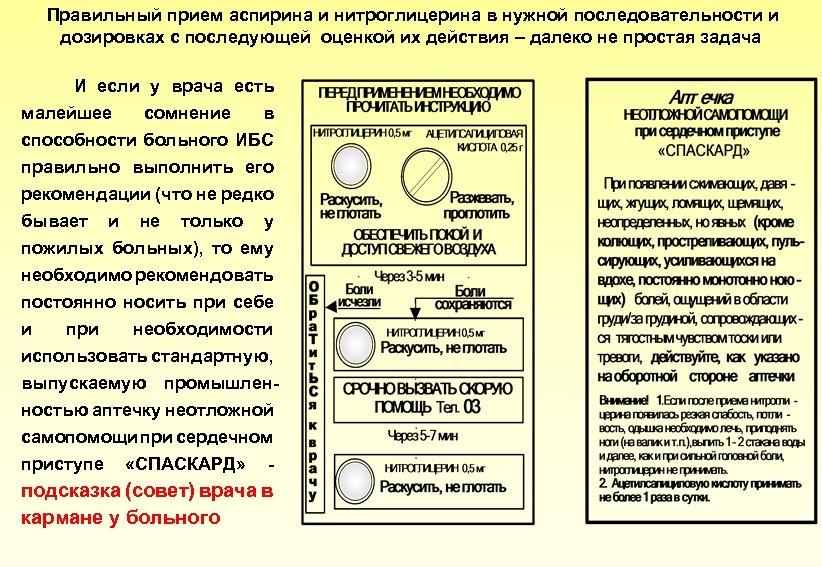 Правильный прием аспирина и нитроглицерина в нужной последовательности и дозировках с последующей оценкой их