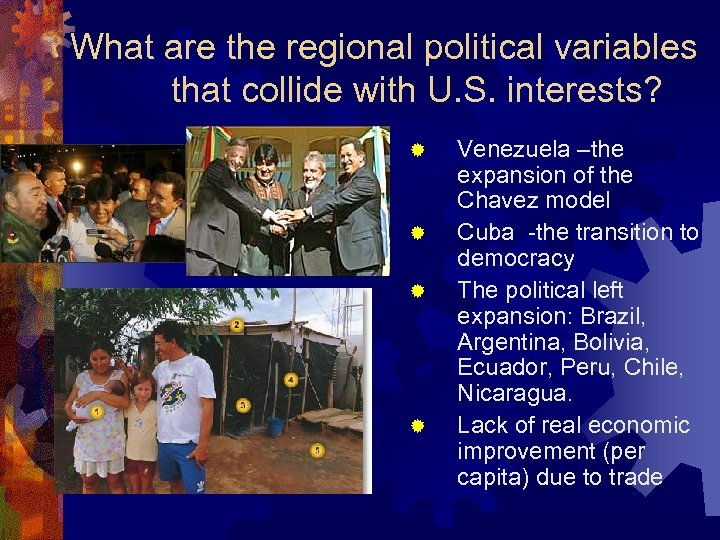 What are the regional political variables that collide with U. S. interests? ® ®
