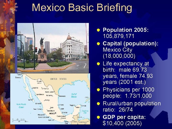Mexico Basic Briefing ® ® ® Population 2005: 105, 879, 171 Capital (population): Mexico