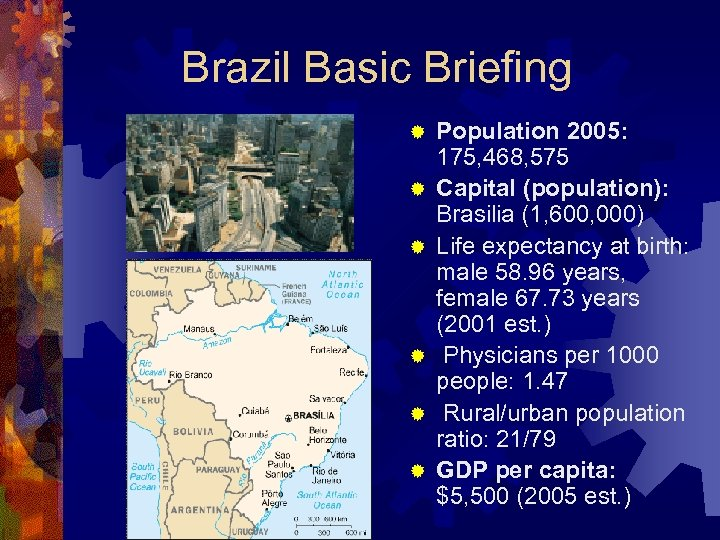 Brazil Basic Briefing ® ® ® Population 2005: 175, 468, 575 Capital (population): Brasilia