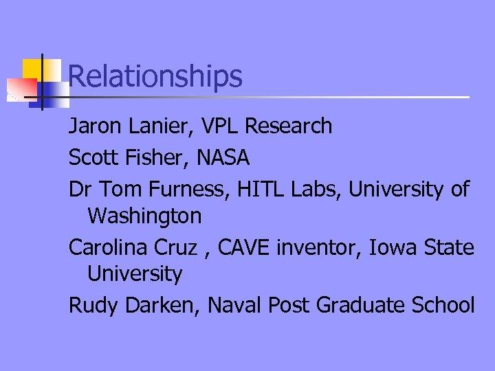 Relationships Jaron Lanier, VPL Research Scott Fisher, NASA Dr Tom Furness, HITL Labs, University