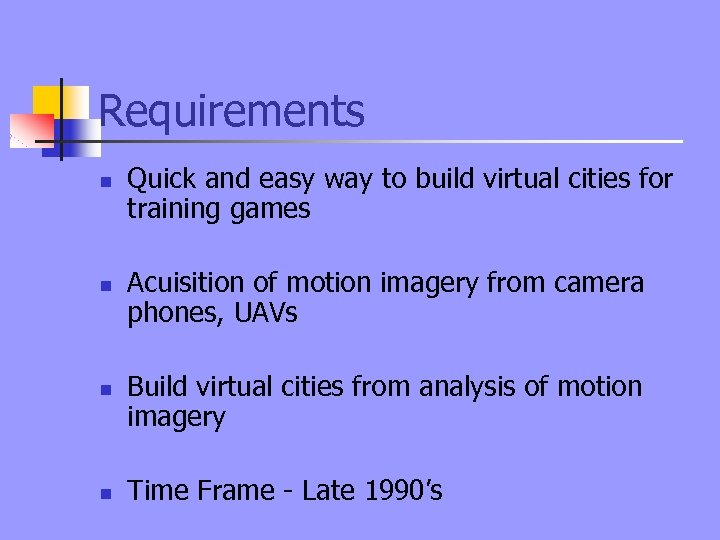 Requirements n n Quick and easy way to build virtual cities for training games
