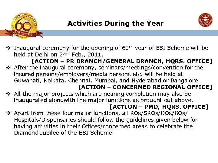 Activities During the Year v Inaugural ceremony for the opening of 60 th year