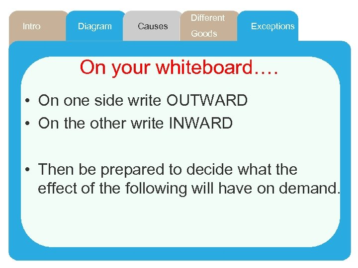 Intro Diagram Causes Different Goods Exceptions On your whiteboard…. • On one side write