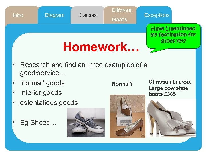Intro Diagram Causes Different Goods Homework… Exceptions Have I mentioned my fascination for shoes