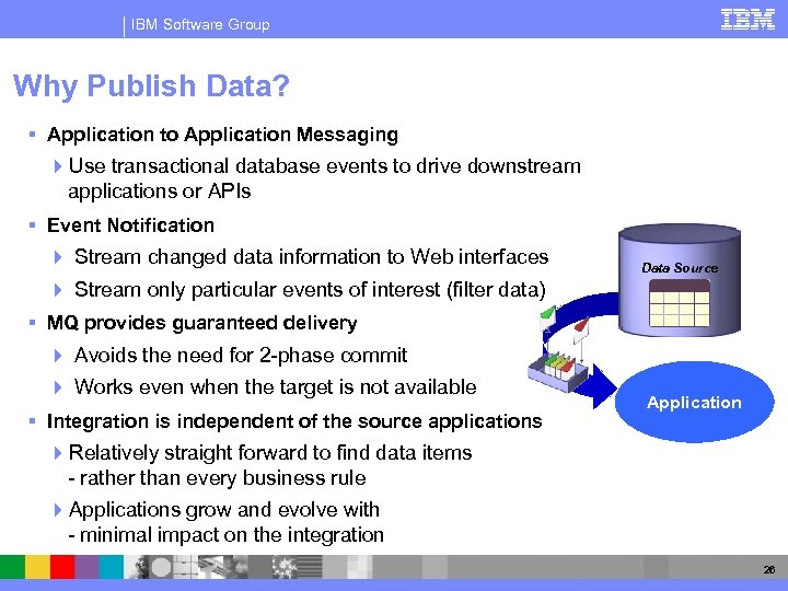IBM Software Group Why Publish Data? § Application to Application Messaging 4 Use transactional