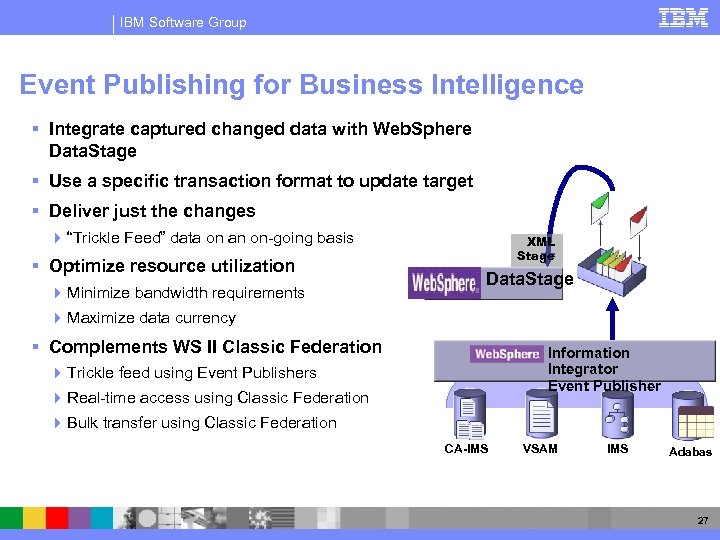 IBM Software Group Event Publishing for Business Intelligence § Integrate captured changed data with