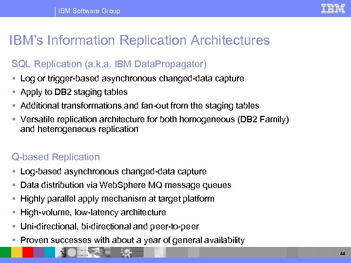 IBM Software Group IBM's Information Replication Architectures SQL Replication (a. k. a. IBM Data.