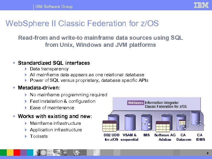 IBM Software Group Web. Sphere II Classic Federation for z/OS Read-from and write-to mainframe