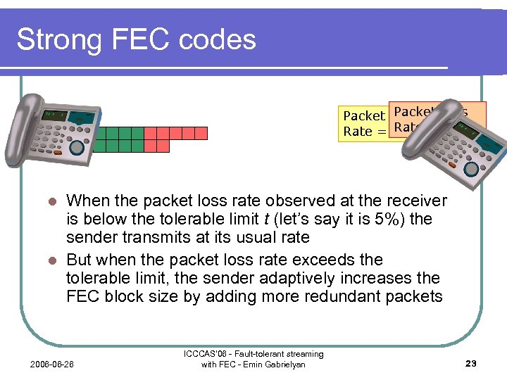 Strong FEC codes Packet Loss Rate = 3% = 30% When the packet loss