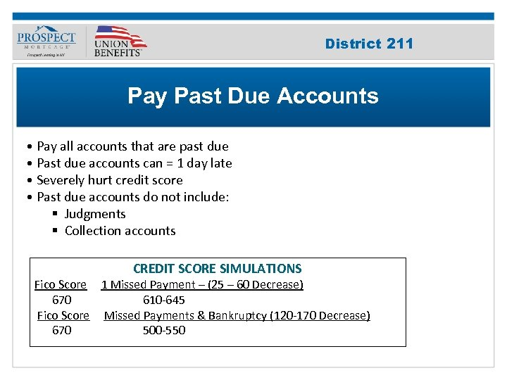 Improve Your 211 District Credit Score Pay Past Due Accounts • Pay all accounts
