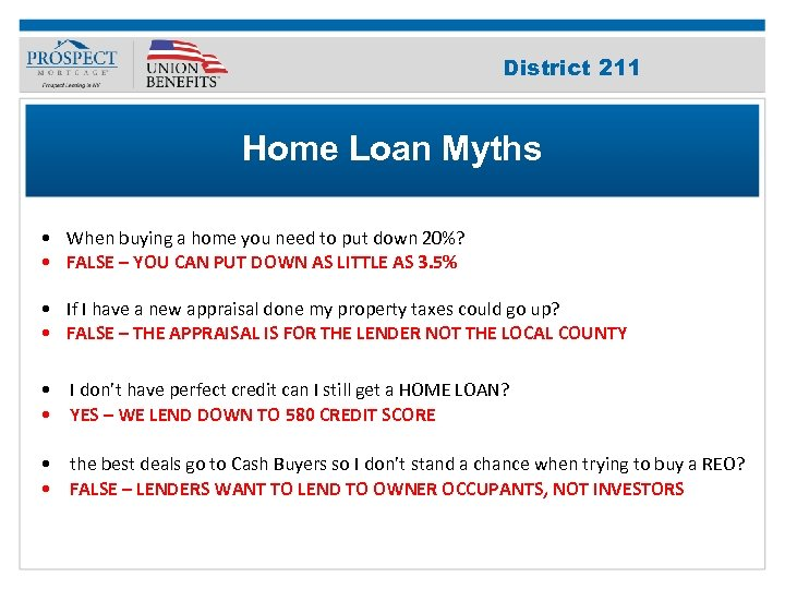 Improve Your 211 District Credit Score Home Loan Myths • When buying a home