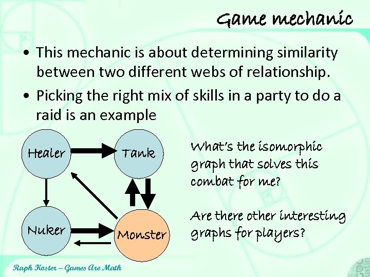 Game mechanic • This mechanic is about determining similarity between two different webs of