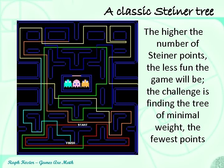 A classic Steiner tree The higher the number of Steiner points, the less fun