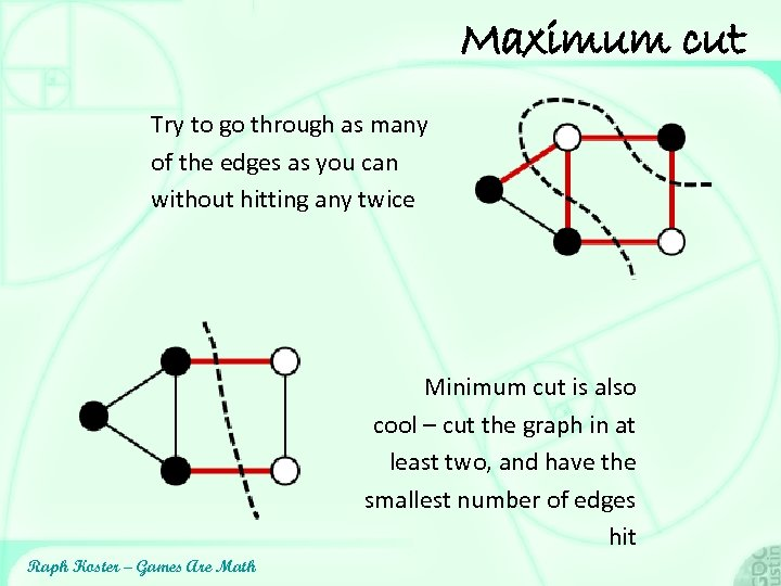 Maximum cut Try to go through as many of the edges as you can