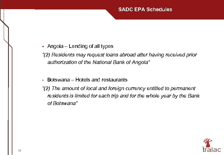 "SADC EPA Schedules § Angola – Lending of all types ""(2) Residents may request"