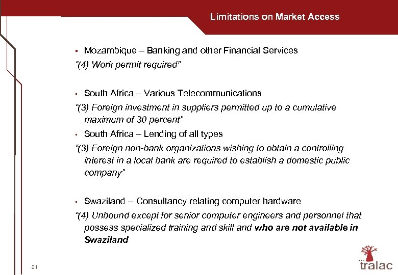 "Limitations on Market Access § Mozambique – Banking and other Financial Services ""(4) Work"