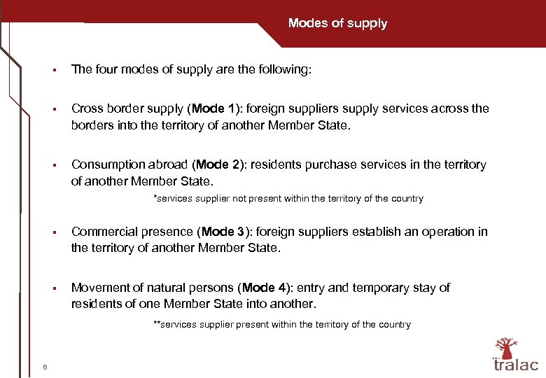Modes of supply § The four modes of supply are the following: § Cross