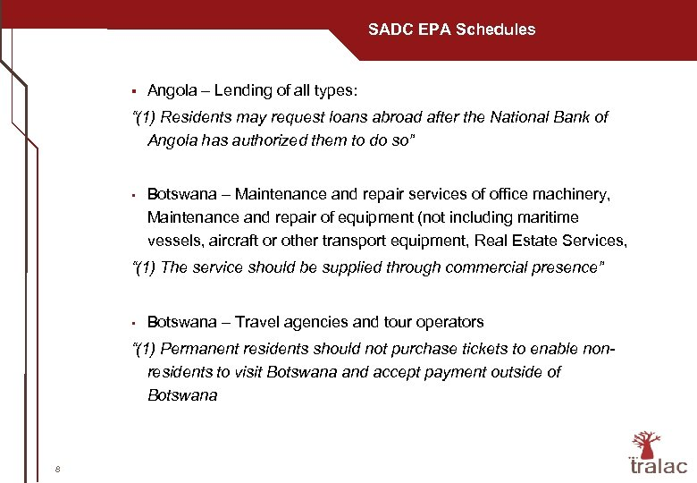 "SADC EPA Schedules § Angola – Lending of all types: ""(1) Residents may request"