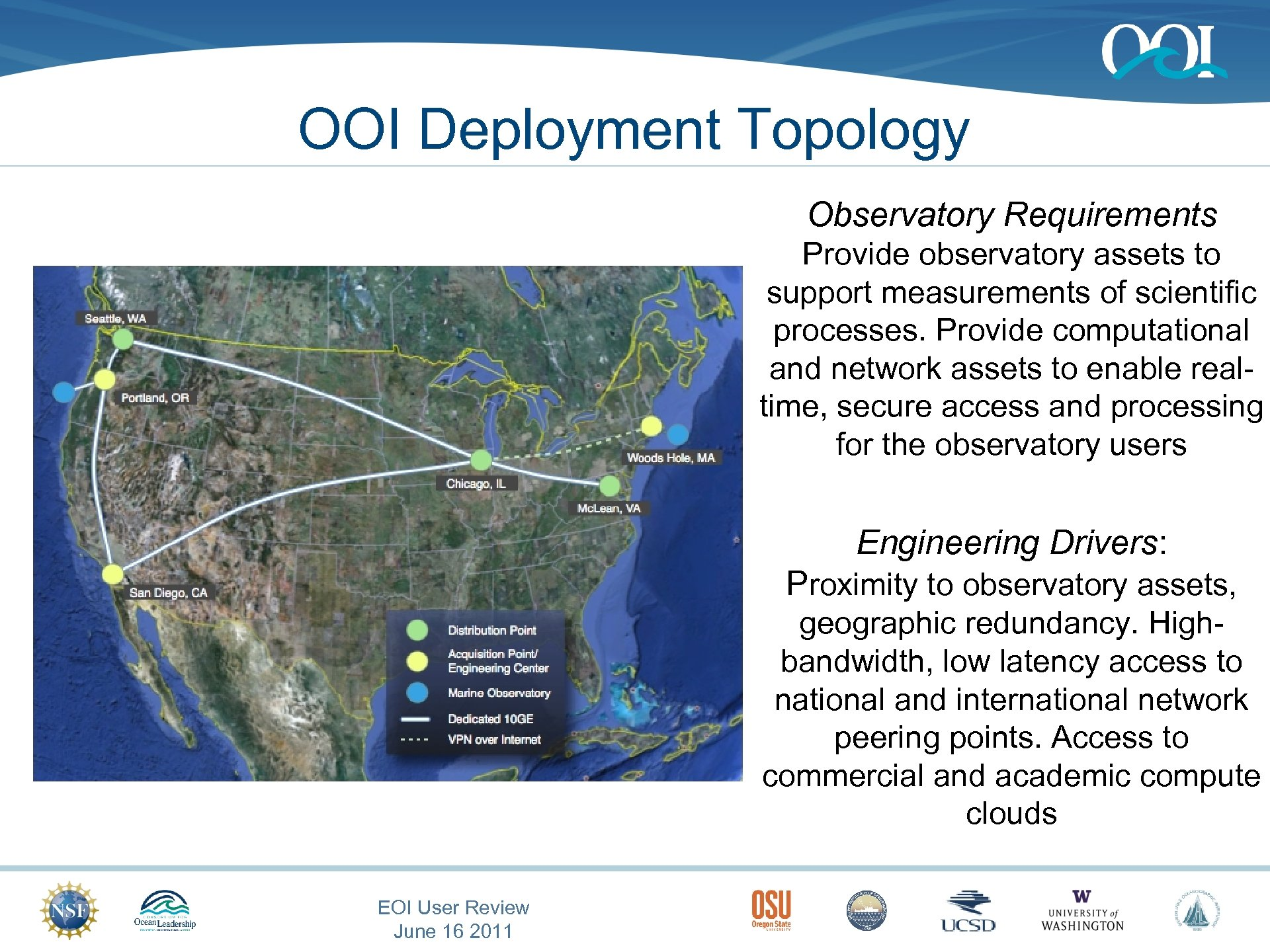 OOI Deployment Topology Observatory Requirements Provide observatory assets to support measurements of scientific processes.
