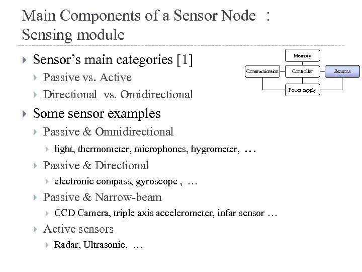Main Components of a Sensor Node : Sensing module Sensor's main categories [1] Passive