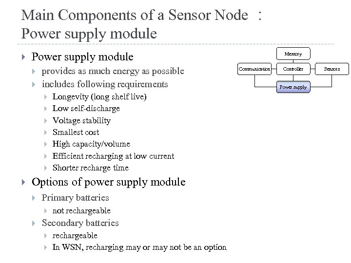 Main Components of a Sensor Node : Power supply module provides as much energy