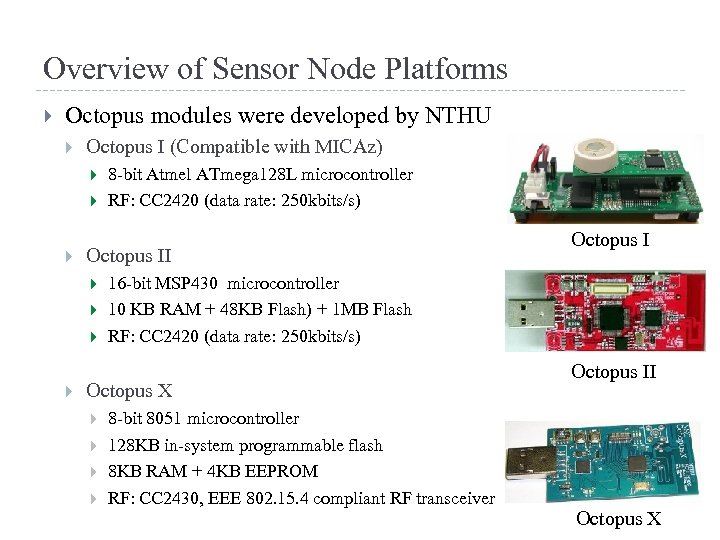 Overview of Sensor Node Platforms Octopus modules were developed by NTHU Octopus I (Compatible