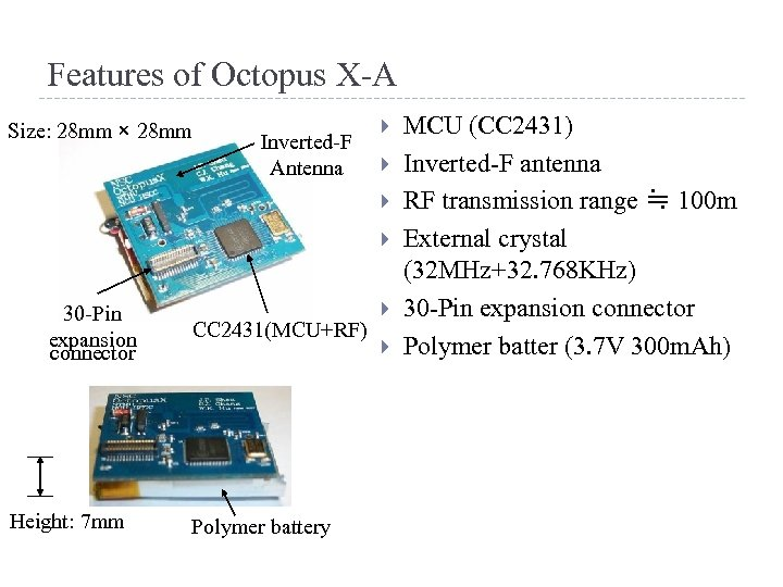 Features of Octopus X-A Size: 28 mm × 28 mm Inverted-F Antenna 30 -Pin