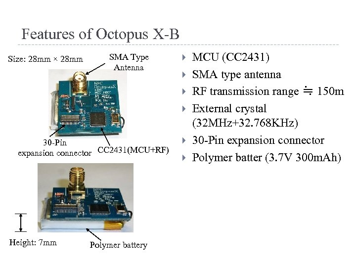 Features of Octopus X-B Size: 28 mm × 28 mm SMA Type Antenna 30