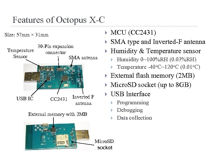 Features of Octopus X-C Size: 57 mm × 31 mm 30 -Pin expansion Temperature