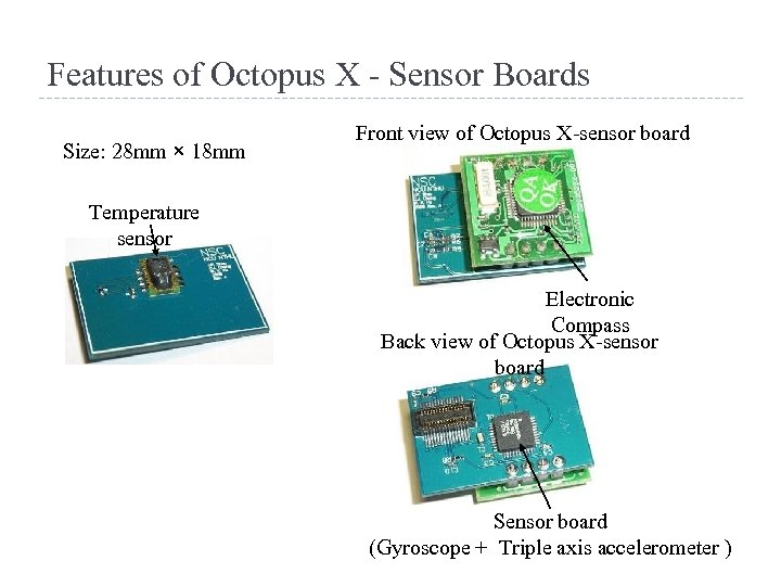 Features of Octopus X - Sensor Boards Size: 28 mm × 18 mm Front