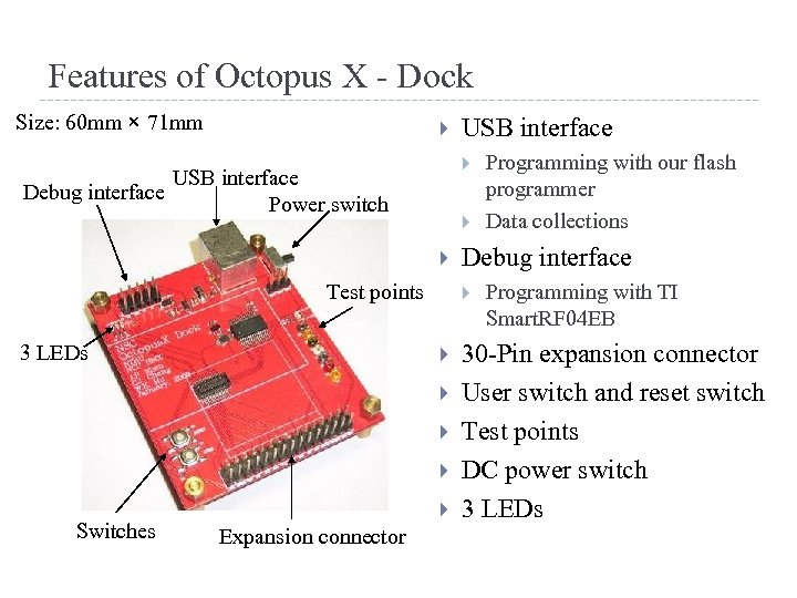 Features of Octopus X - Dock Size: 60 mm × 71 mm USB interface
