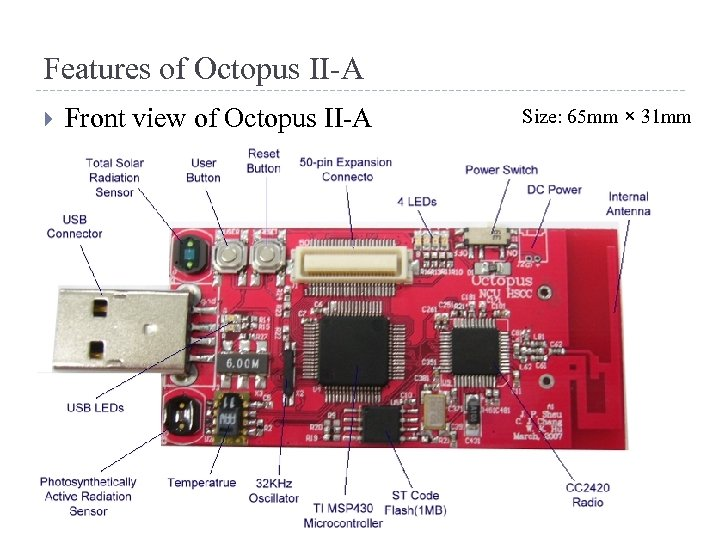 Features of Octopus II-A Front view of Octopus II-A Size: 65 mm × 31